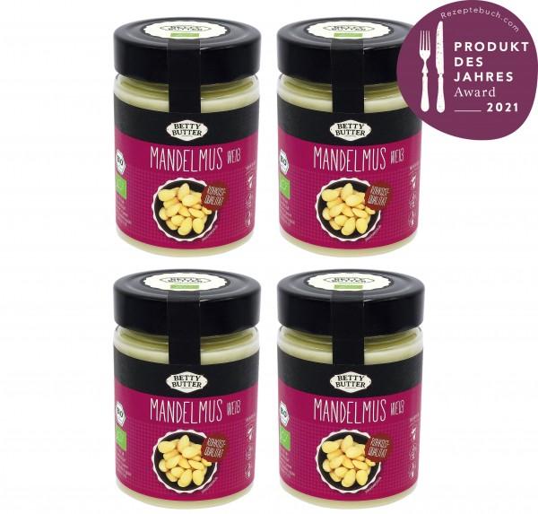 4er Spar Pack, Bio Mandelmus weiß, Rohkost-Qualität, 4 x 330 g