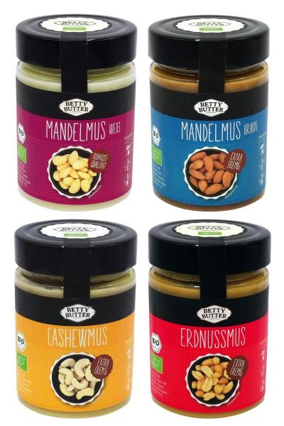 4er Spar Pack, Bio Nussmus, 4 x 330 g (je 1x Mandelmus weiß, Mandelmus braun, Cashewmus, Erdnussmus)