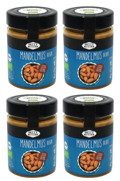 4er Spar Pack, Bio Mandelmus braun, geröstet, 4 x 330 g
